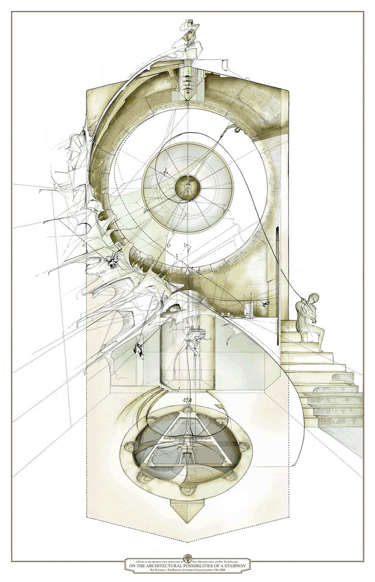 """""""On the Architectural Possibilities of a Stairway"""" Love the techno-pen & color wash style and this artist, Dan Slavinsky, does it better than most. So many more great images in this series - check out his site."""