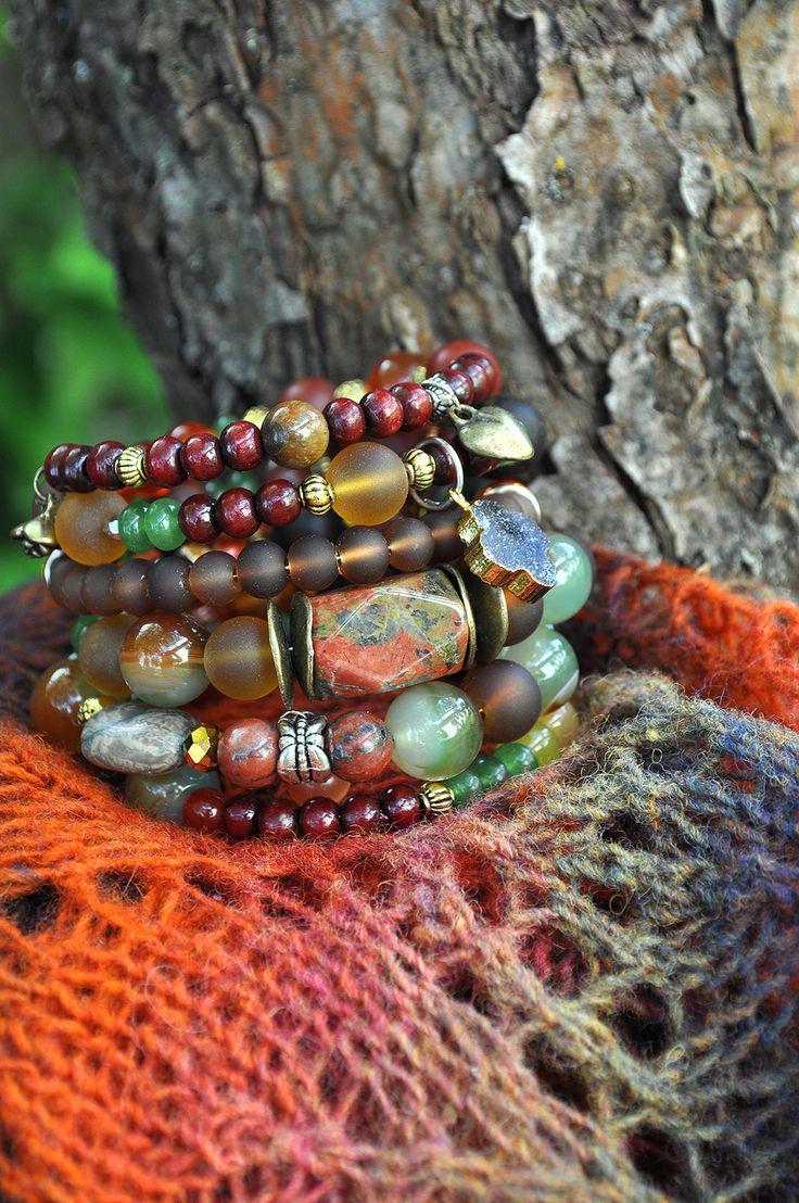 Beautiful Wrap Bracelet, Chunky Statement Bracelet, Crystal Hippie Hippy Bracelet, 5 strand bracelet Gemstone Bracelet by ShellenD on Etsy