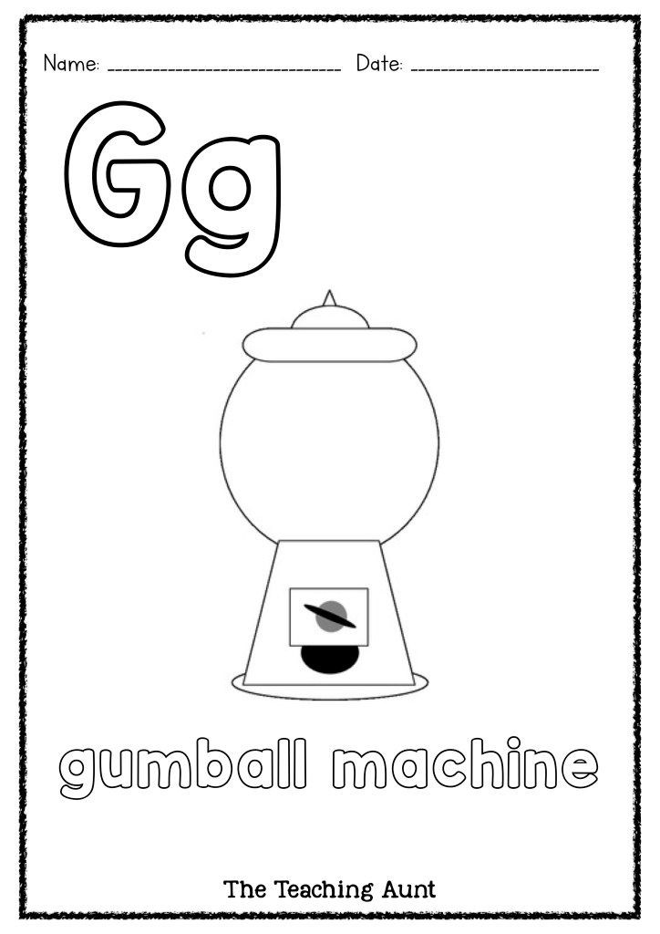 G Is For Gumball Machine Art And Craft The Teaching Aunt Preschool Coloring Pages Arts And Crafts Gumball Machine