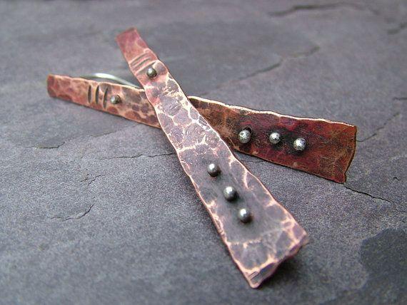 Otzi Paddle Earrings Copper And Silver Earrings