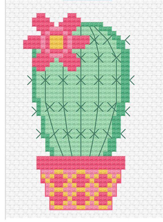 Modern cross stitch sweet little cactus cross stitch