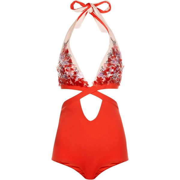 La Perla Floral Rhapsody Red Halterneck Cut-Out Swimsuit With Sequins ($985) ❤ liked on Polyvore featuring swimwear, one-piece swimsuits, intimates, floral one-piece bathing suits, cut-out one piece swimsuits, halter top one piece bathing suits, red swimsuit and 1 piece swimsuit