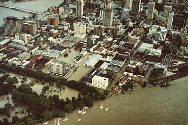 An aerial view of Brisbane under floodwaters, January 1974. Photo: Copyright State Library of Queensland/Author unknown