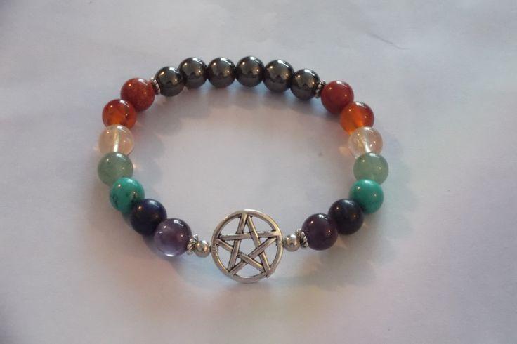 7 Chakra Gemstone,Pentacle Healing Stretch Bracelets,Yoga Bracelet by HealingAuras on Etsy