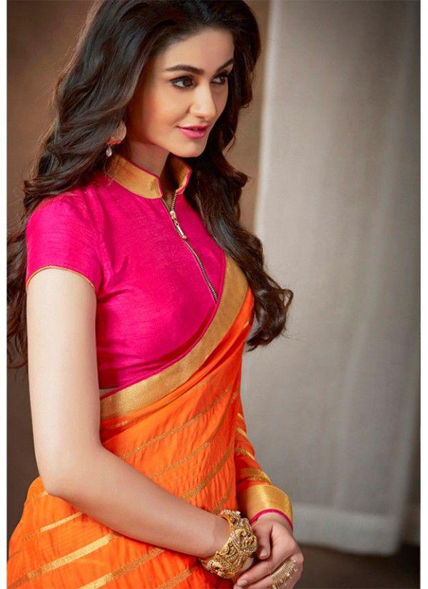 Saree designs latest Varsidhhi Orange Partywear saree - shopneez.com @ $35.85