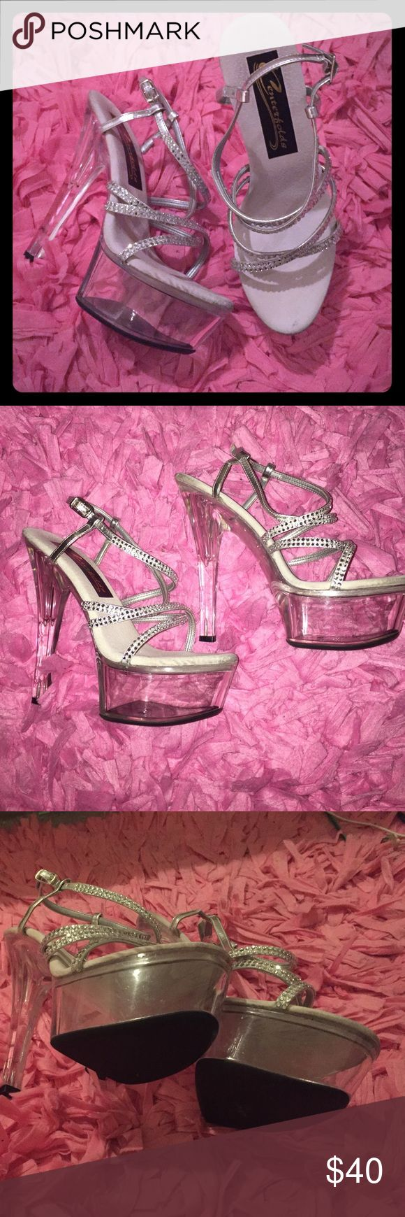 Centerfolds Stripper Heels 7 Stripper heels by Centerfolds. Size 7. Great condition. No rhinestones missing. Clear platform and heels. Centerfolds Shoes Platforms