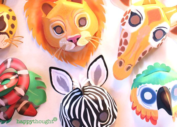 Gorgeous, easy printable paper mask set. New Wild animal masks ready to download at https://happythought.co.uk/shop