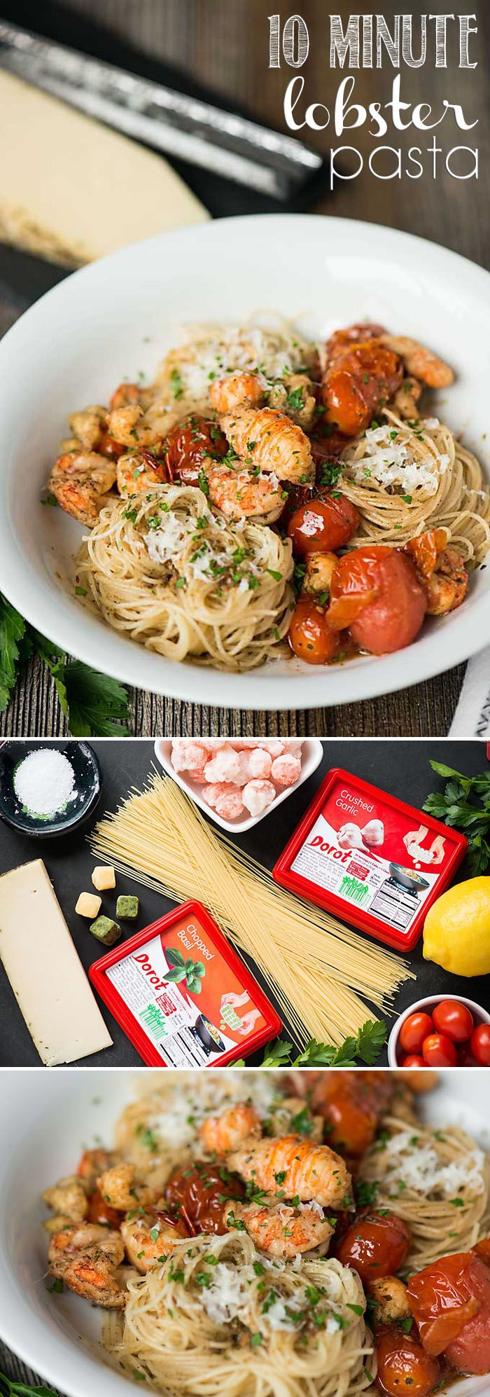 Perfect for a quick lunch or dinner, this single serving 10 Minute Lobster Pasta with tomatoes, basil and garlic is absolutely delicious.