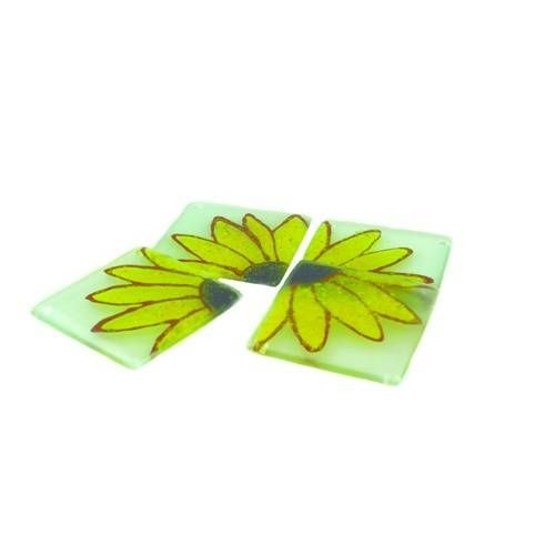 Reclaimed Glass Sunflower Coaster Set of 4,  by Springy Crafts, Glass - £19.20 Handmade from reclaimed materials