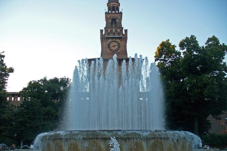 Fountain in front of Castello Sforzesco, Milan, Italy