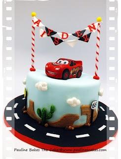 """PAULINE BAKES THE CAKE!: """"Cars"""" Lightning McQueen!"""