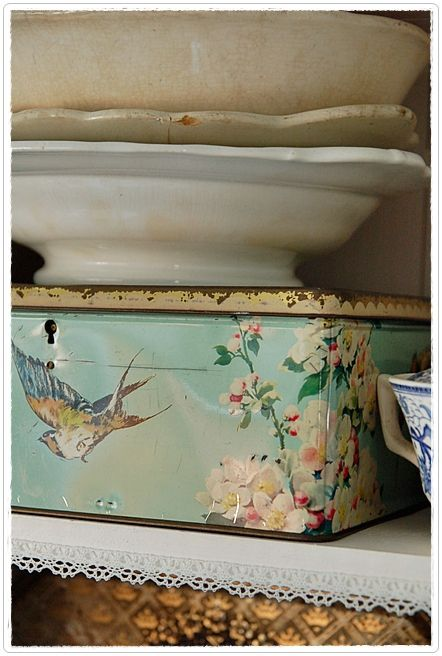 Adore the vintage bird tin!