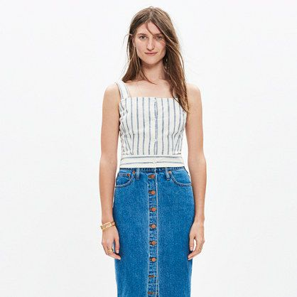 This cropped button-front top reveals a hint of skin (perfect with high risers, in other words). The super-special ikat stripes are dyed into the yarn and then woven into the fabric, giving them an artfully blurred effect. <ul><li>Cropped fit.</li><li>Linen/cotton.</li><li>Machine wash.</li><li>Import.</li><li>Madewell.com only.</li></ul>