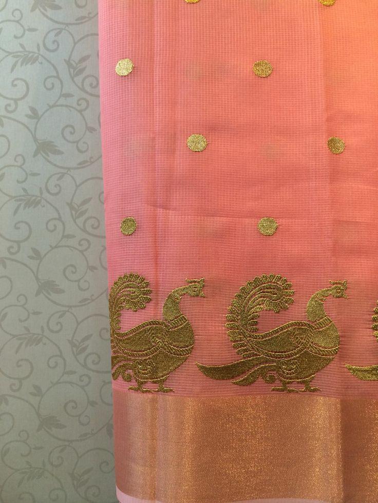 Peach kota saree with woven zari annapakshi