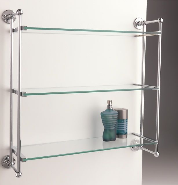 buy classic three tier bathroom shelf bathroom shelf unit with three tiers beautifully handmade in england clear glass shelves and joints with ball - Bathroom Accessories Glass Shelf