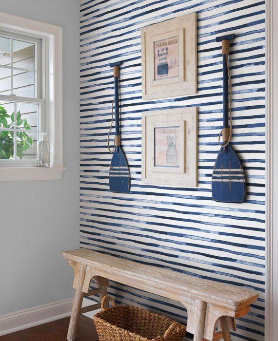 Watercolor Stripes Blue Peel Stick Fabric Wallpaper Etsy House Interior Beach House Interior Home Decor