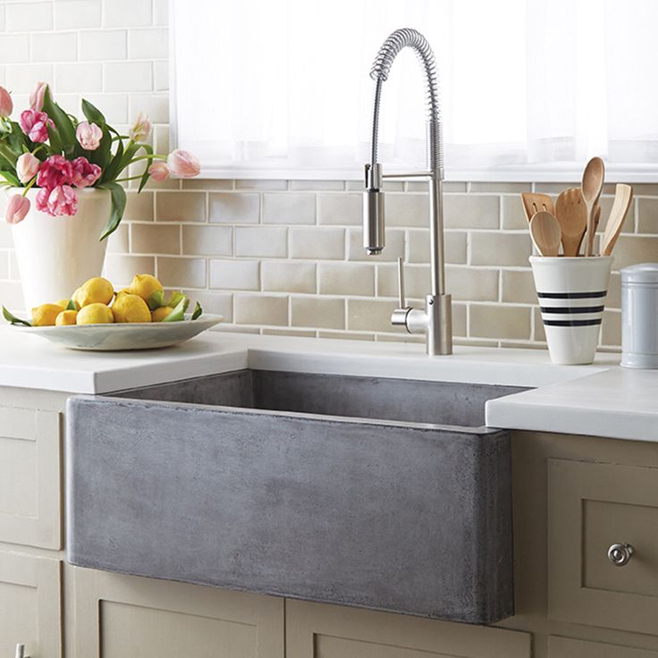 Features: -Material: Stone. -40% Lighter than traditional concrete. -Scratch resistant. Installation Type: -Farmhouse/Apron/Undermount. Finish: -Farmhouse. Material: -Stone. Number of Basins: -