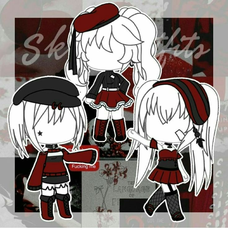 gacha outfits blackred colection with images  anime