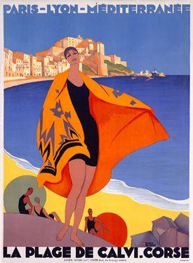 Vintage Travel Poster French Riviera Beach La Plage de Calvi Art Print