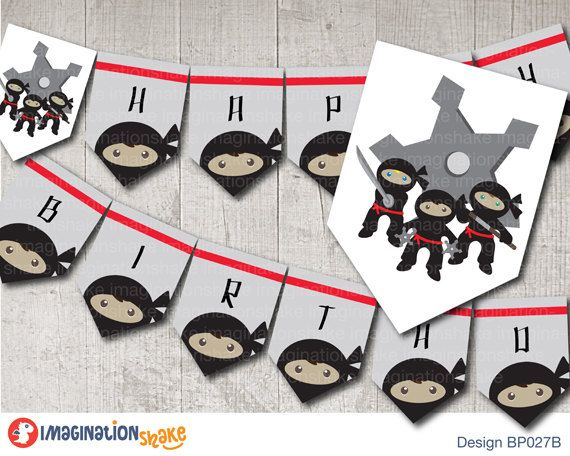 Ninja Birthday Party Banner PRINTABLE / Ninja by ImaginationShake
