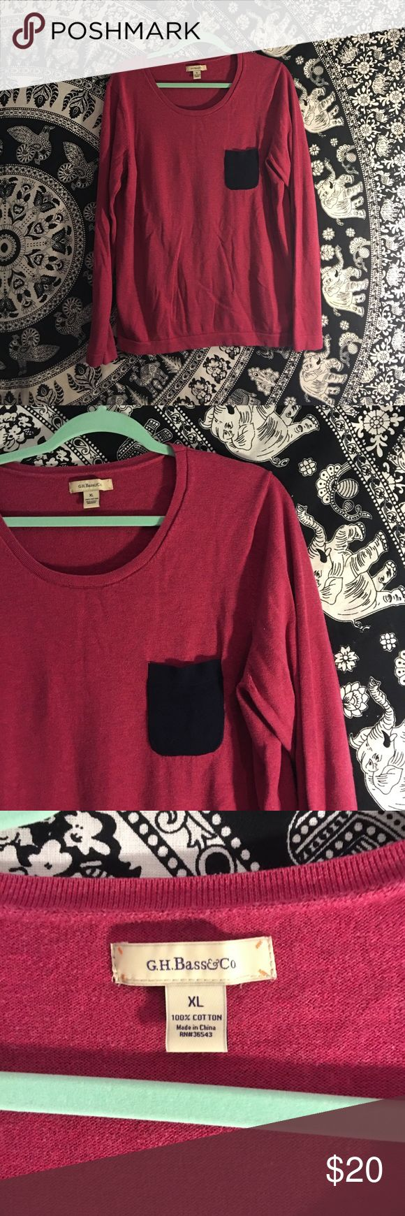 G.H. Bass&Co pocketed sweater Bass&Co cranberry pink scoop neck sweater with navy blue accent pocket. Great condition! Perfect color and thickness for fall layering! Says XL, fits more like a looser large. Bass Sweaters Crew & Scoop Necks