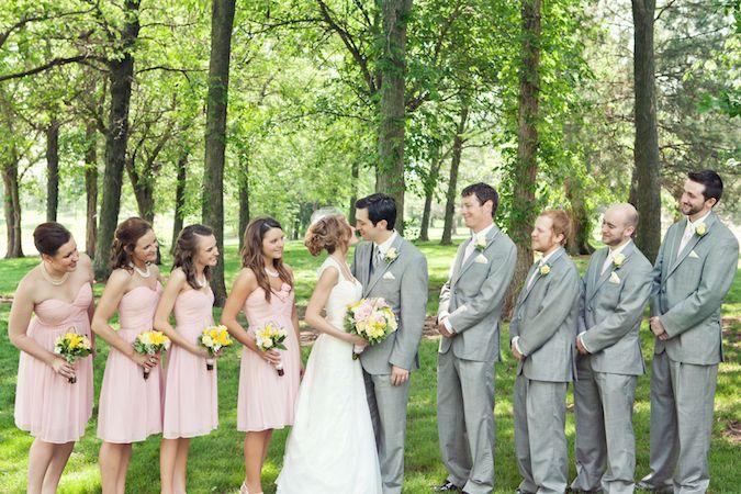 Blush Wedding Dress Grey Bridesmaids : Beautiful blush bridesmaids dresses and grey suits for the