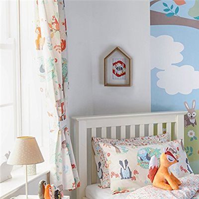 Woodland Animals Pencil Pleat Curtains and Matching Tiebacks 66 x 72 Fully Lined Ready Made Kids Fox Squirrel, Cream: Amazon.co.uk: Kitchen & Home