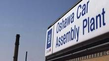 The Harper government says it has unloaded its remaining multibillion-dollar stake in General Motors. The federal Finance Department says the government sold nearly 73.4 million shares Monday in an unregistered block trade to Goldman, Sachs & Co. A sign stands outside Oshawa's General Motors car assembly plant in Oshawa, Canada. (Michelle Siu/THE CANADIAN PRESS)