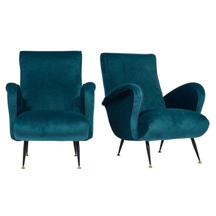 Marco Zanuso Style Teal Armchairs | JMF #italiandesign #armchair #vintagefurniture