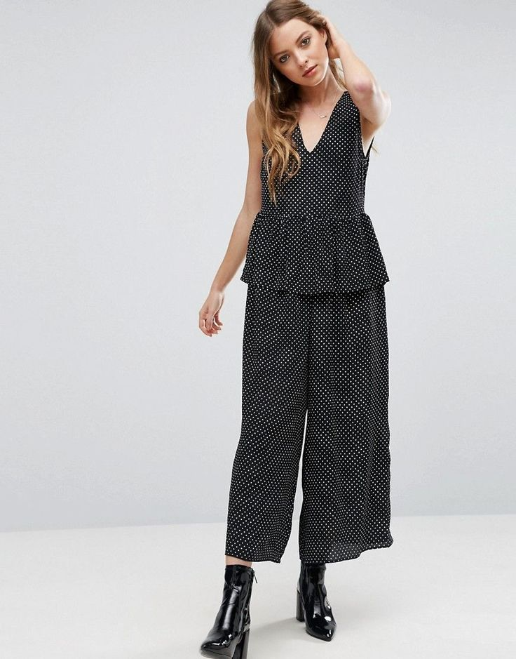 ASOS Jumpsuit in Spot with Peplum Ruffle Detail - Black