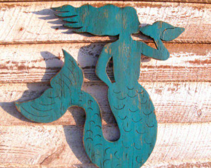 Sirena madera costera decoración salón sirena concha Shell Beach casa decoración decoración de vida costera