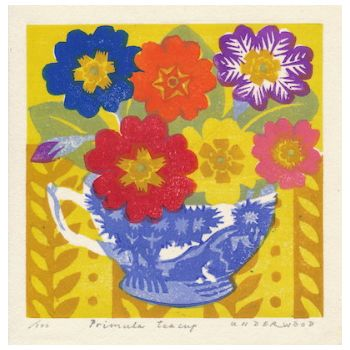 Primula Teacup Unframed Print: Primula Teacup unframed original print by Matt Underwood. Matt is a printmaker, painter and beekeeper inspired by the natural world. He works with a Japanese woodblock printing technique using abamboo baren - a round flat disc covered traditionally with a dried leaf.