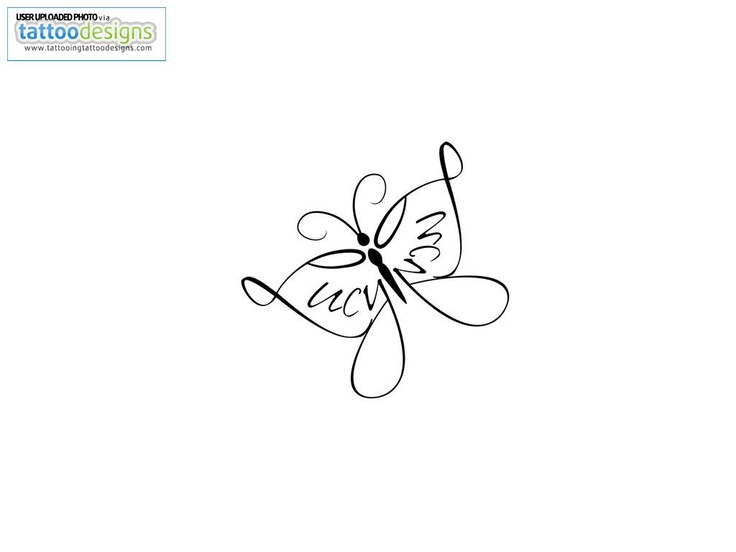 Little Simple Butterfly Tattoo....love the mirrored name, Its my middle name and all....this is so sweet and cute.  I didn't realize initially that there was a name in the wing.  I love how delicate it looks, but I'd like it to be just swirls and not a name.