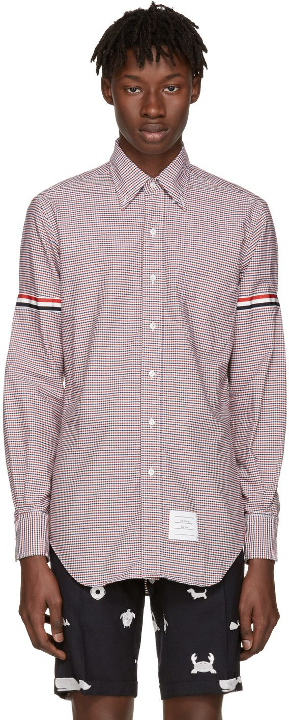 THOM BROWNE Tricolor Classic University Check Grosgrain Shirt. #thombrowne #cloth #shirt