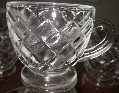 EAPG 1889 Gillinder & Sons 'Westmoreland Block' 12-4oz QUILT Footed PUNCH CUPS