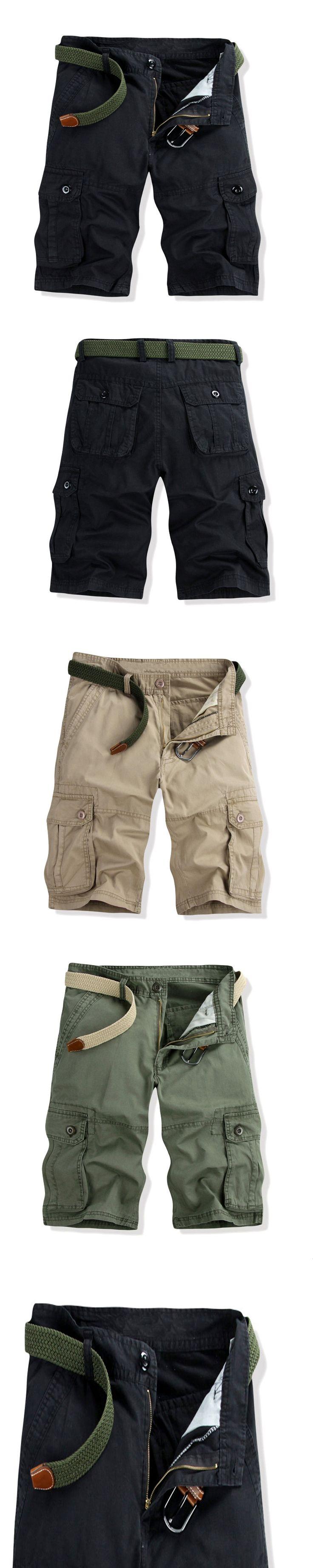 Hip pop Cotton Men's Cargo Shorts Multi pockets Green Size 28-40 Black Khaki Military Army Combat