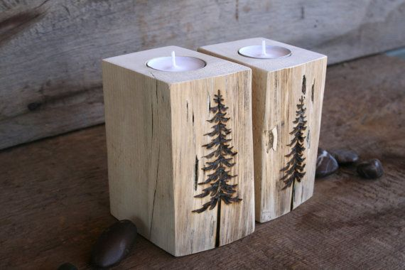 Trees Tealight Candle Holders Wood Burning by TwigsandBlossoms
