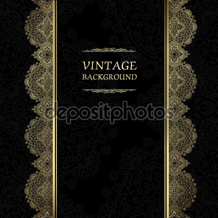 Старинный фон, антикварных открыток, черный приглашение с золотой шнурок и цветочные украшения, красивые, роскошные открытка, старая бумага, богато страницы обложки, орнамент шаблон для дизайна — стоковая иллюстрация #97957734