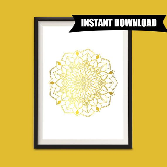 Mandala Flower, Instant Download Printable Art, Abstract Wall Art Print, Gold Mandala Wall Art Printable, A4 Digital Download Print (P1)