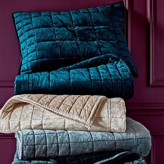 Washed Cotton Luster Velvet Quilt  + Shams #westelm