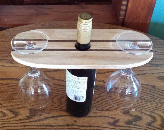 Wine Bottle & Glass Caddy Oak with Walnut by 8thLineCreations