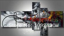 El yapımı siyah yoğun modern kent gece kaliteli soyut manzara duvar dekor tuval üzerine yağlıboya 5pcs/set(China (Mainland))