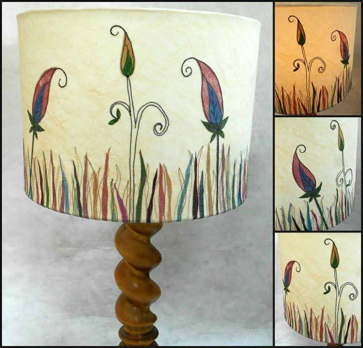 30cm diameter lampshade. Embroidered and hand painted.