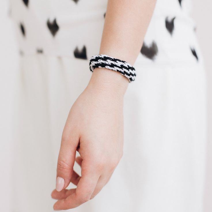 Small wristband band, white black stretch cuff bracelet, soft yarn jewelry