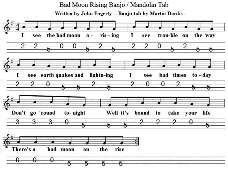 Bad Moon Rising Mandolin / Banjo Tab : Music Maestro : Pinterest : Sheet music, Tin whistle and Tins