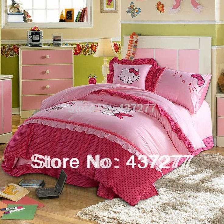 Girl Hello Kitty Queen Twin Pink Bedding Bedroom Bed Set Pillowsham Cotton Embroidered Lace Polka Dot Duvet Covers Comforter Set Bedroom Comforters Sets Cheap Duvet Cover Sets From Hotseller1, $148.03| Dhgate.Com