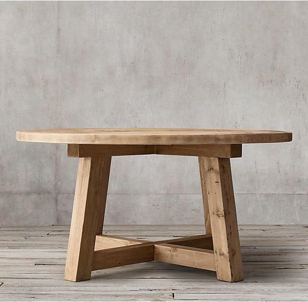Rh S Salvaged Wood Beam Round Dining Table Our Salvaged Beam Wood