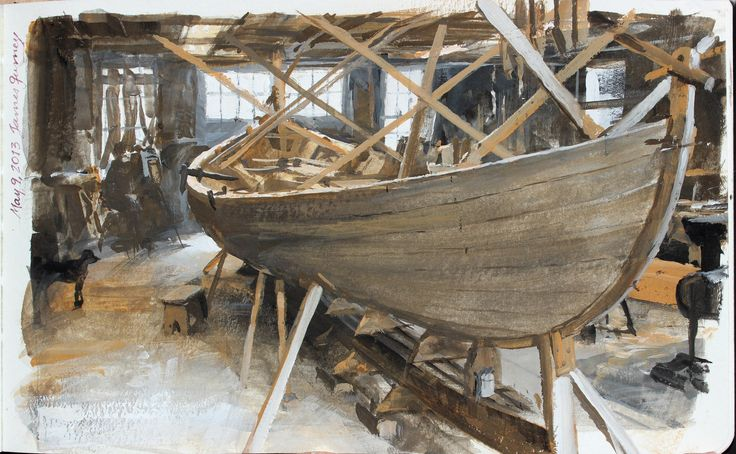 Lowell's Boat Shop, casein, 5x8 inches.