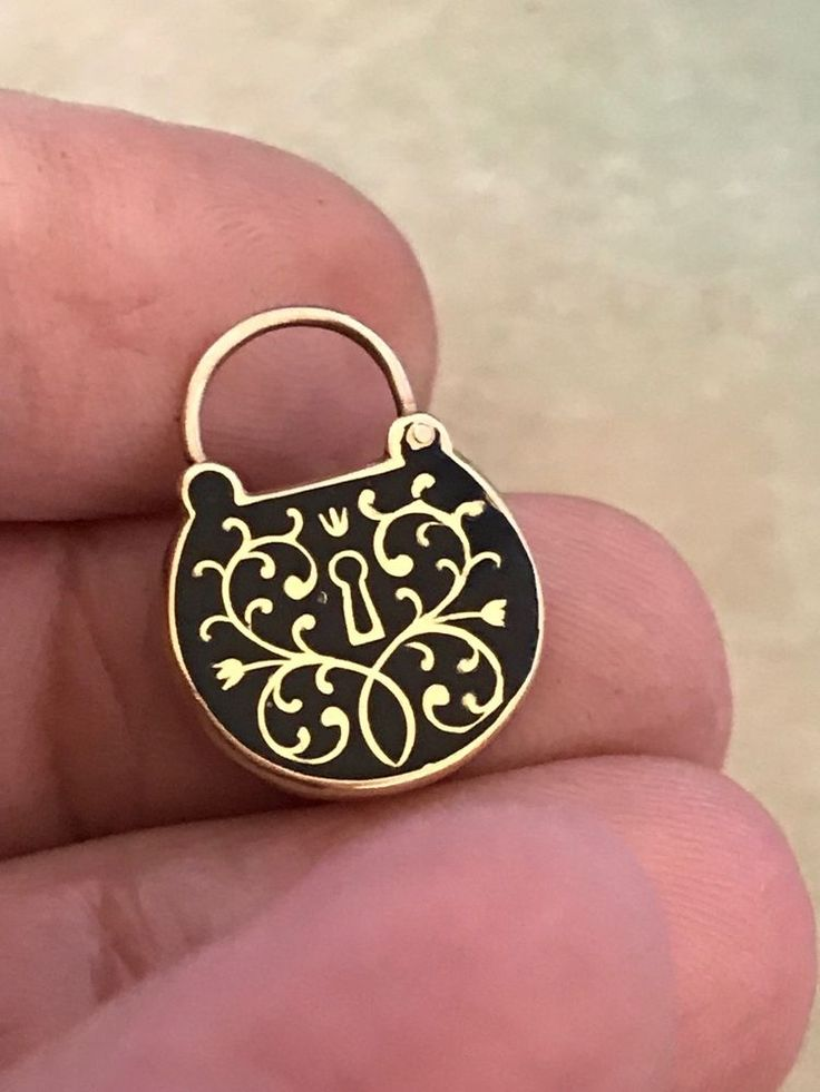 Antique or Vintage Victorian Gold Enamel Padlock Mourning Hair Charm Pendant   Jewelry & Watches, Vintage & Antique Jewelry, Fine   eBay!