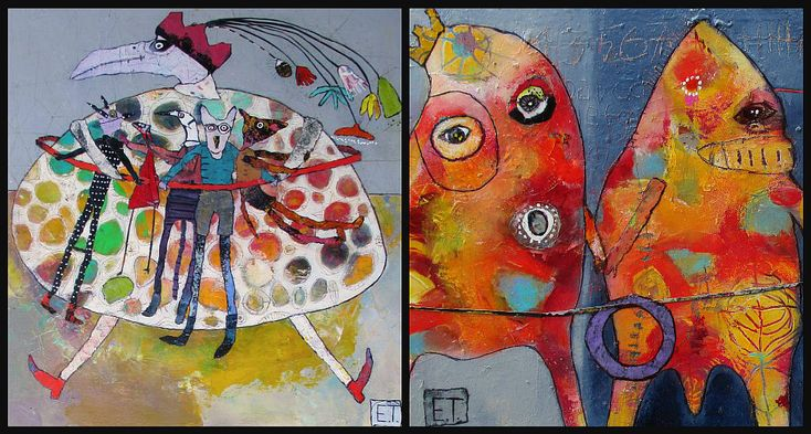 Elke Trittel acrylics,collage on board 40/40cm and 25/30cm